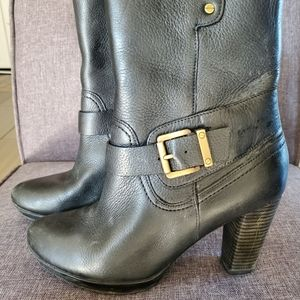 Clarke Leather Ankle Boot Zip Buckle Detail